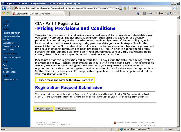 CIA exam application