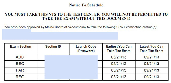 CPA exam NTS sample